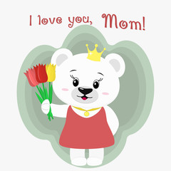 A nice polar bear holds three tulips. Congratulations on your mother's day, in the style of cartoons.