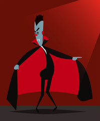 Vector illustration of funny Dracula during the Halloween preparations