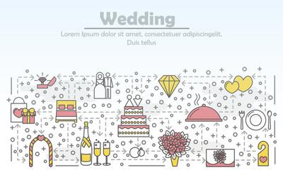 Wedding advertising vector flat line art illustration