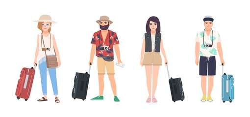 Wall Mural - Collection of male and female travelers dressed in summer clothes. Set of men and women tourists with suitcases. Modern cartoon characters isolated on white background. Colorful vector illustration.