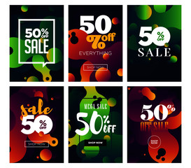 Social media sale banners and ads web template set.