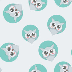 Cute owls seamless pattern. Vector background. It can be used as wallpaper, desktop, card, apparel design, printing, wrapping, fabric or background for your blog, covers and your design.