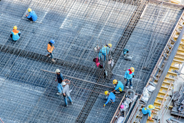 High angle construction workers