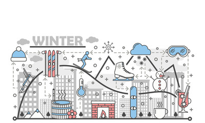 Winter fun vector flat line art illustration