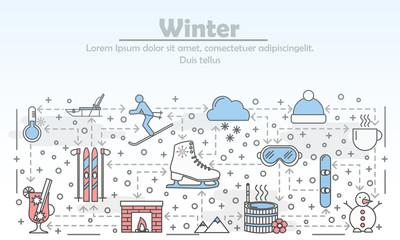 Outdoor winter activities advertising vector flat line art illustration