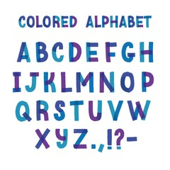 Latin typeface or creative english alphabet made of blue and purple adhesive tape. Collection of stylized letters organized in alphabetical order and isolated on white background. Vector illustration.