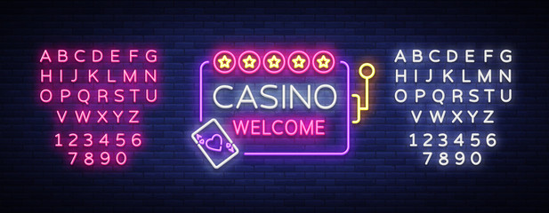 Casino welcome logo in neon style. Design template. Neon sign, light banner, neon billboard bright light advertising gambling, casino, poker, slot machines. Vector illustration. Editing text neon sign