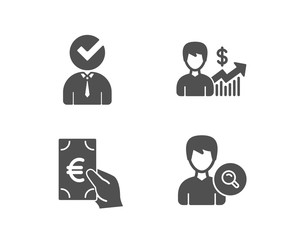 Set of Finance, Business growth and Vacancy icons. Search people sign. Eur cash, Earnings results, Businessman concept. Find profile.  Quality design elements. Classic style. Vector