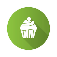 Cupcake flat design long shadow glyph icon