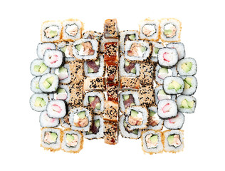 Sushi roll isolated on a over white background