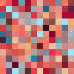 Vintage seamless abstract background with orange, brown, blue, red squares, vector illustration