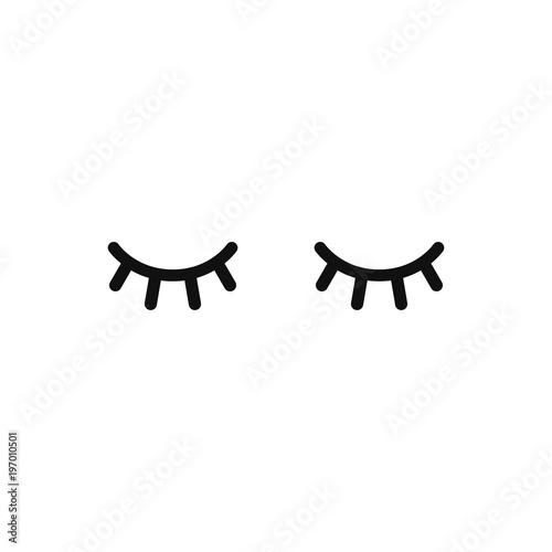 vector unicorn eyelashes closed woman eyes vector icon stock