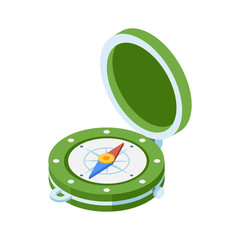 Green compass isometric icon. Navigation equipment with wind rose. Old vintage compass vector illustration in isometry style.