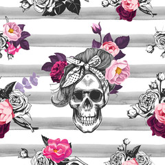 Poster Watercolor Skull Hipster seamless pattern with skull silhouettes, flowers roses and watercolor stripes at the background. Skull silhouette in engraving. Black and white.