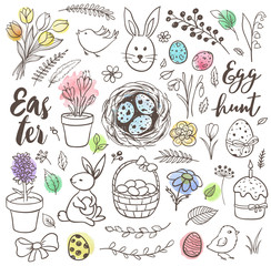 Set of hand drawn Easter doodles