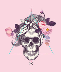 Printed kitchen splashbacks Watercolor Skull Women's skull in pop art style with fashionable hairstyle and scarf against abstract background and surrounded by rose flowers. Vector illustration can be used as t-shirt print, poster, postcard etc
