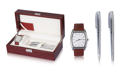 Elegant and designer wrist watch with leather straps and two silver ballpoint pen set in a beautiful box that make it best gift for gents. The features of the digital watch make it more special and wi