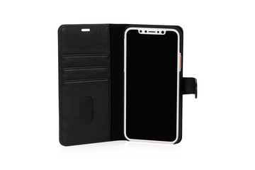 Standing front view of black color mobile placed in a flip flop black color cover with small band to close the open cover. Best safety cover for mobile.