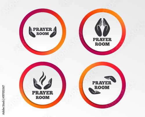Prayer Room Icons Religion Priest Faith Symbols Pray With Hands
