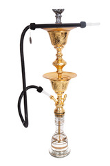 Enjoy blowing plumes of smoke from the elegant hookah golden stand with single hosed hookah pipe and exotic hookah flavors. It stands over two feet tall and gives a traditional look.