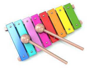Xylophone with two drum sticks 3d illustration on white background