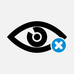 Eye icon with cancel sign. Eye icon and close, delete, remove symbol