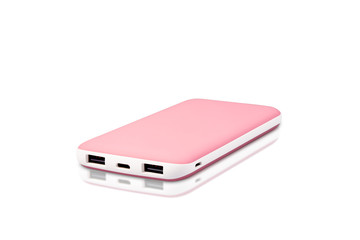 View of soft pink and white color power bank with two different slots options.This power bank compatible with every phone and tablet.