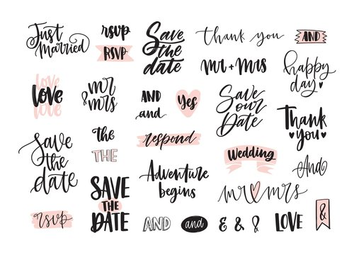 Set of creative wedding lettering or inscriptions written with decorative calligraphic font. Bundle of phrases, words, ampersands decorated with cute romantic elements. Hand drawn vector illustration.