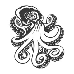 Octopus. black engraving vintage illustration. Isolated on white background.