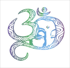 The face of the Buddha is inscribed in the om. Color illustration. Buddhism
