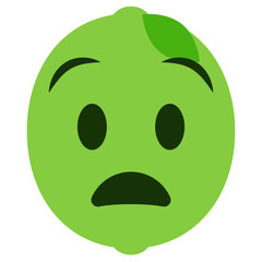 staunendes Emoticon - Limette