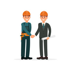 Construction engineer or architect and foreman in hardhats shaking hands vector Illustration on a white background