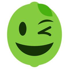 Emoji zwinkernd - Limette