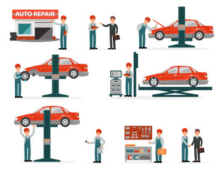 Car repair auto service set, auto mechanics in uniform in repair work process with equipment and clients vector Illustrations on a white background