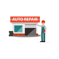 Mechanics in uniform standing next auto service center doing a welcome gesture vector Illustration on a white background