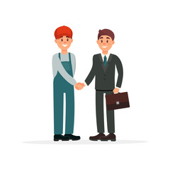 Professional auto mechanic in uniform and customer characters shaking hands vector Illustration on a white background