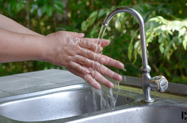 Hands washing. Cleaning Hands.