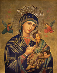 Printed roller blinds Historical buildings ZARAGOZA, SPAIN - MARCH 1, 2018: The painting icon of Madonna in church Iglesia del Perpetuo Socorro by pater Jesus Faus (1953 - 1959).