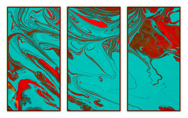 Abstract triptych  of a mix color paints Wall mural