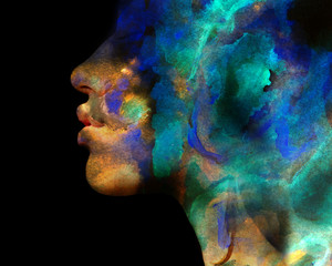 Paintography. Double exposure of colorful neon painting combined with a close up profile portrait of a seductive exotic female with pouty lips and thick hair