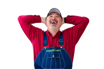 Cheerful man wearing dungarees on white background