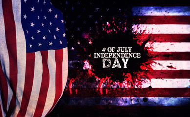 Independence day background. Grunge American flag, war concept oil painting
