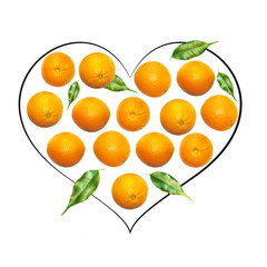 Fruit composition with fresh orange and cartoon cute doodle drawing heart on white background. Creative minimalistic food concept.