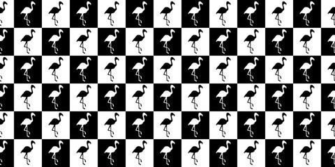 Silhouette of a flamingo geometric seamless pattern. Silhouette of flamingos in black and white squares