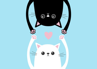 Black funny cat Head silhouette hanging upside down. White kitten hands up. Pink heart Love card. Eyes, paw print. Cute cartoon character set. Baby collection. Flat design. Blue background.