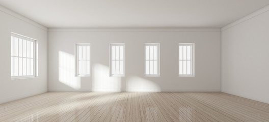 3D rendering of white room interior and wood plank floor with sun light cast on the wall,Perspective of minimal design architecture