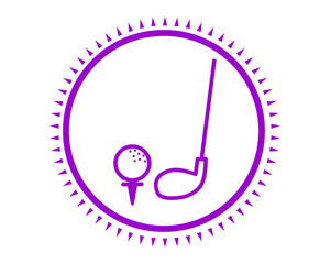 purple golf icon sport equipment tool utensil image vector