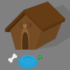 Dog House Illustration with dish for dog meal, game ball and bone