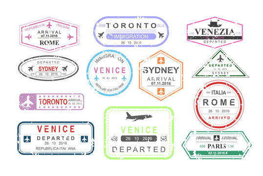 Vector illustration set of isolated visa passport stamps of arriving and departure, tourism sign, arrival document, airport theme, travel concept.