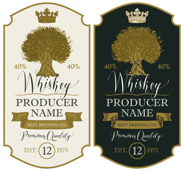 Set of vector labels for whiskey premium quality in the figured frame with oak tree, crown, ribbon and handwritten inscriptions in retro style